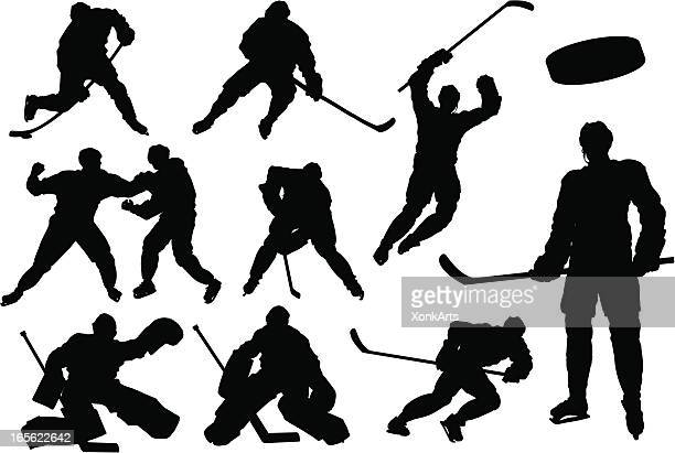 hockey silhouettes - ice hockey player stock illustrations