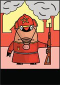 Hog with rifle in red army uniform