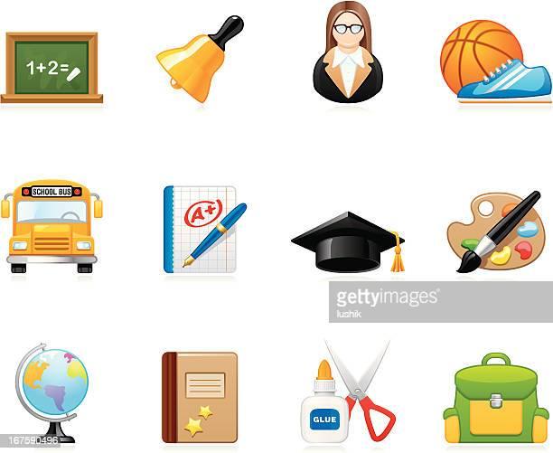 ilustrações, clipart, desenhos animados e ícones de hola de ícones escola e educação - livro de exercícios
