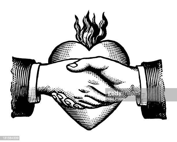 Se tenir par la main sur le cœur