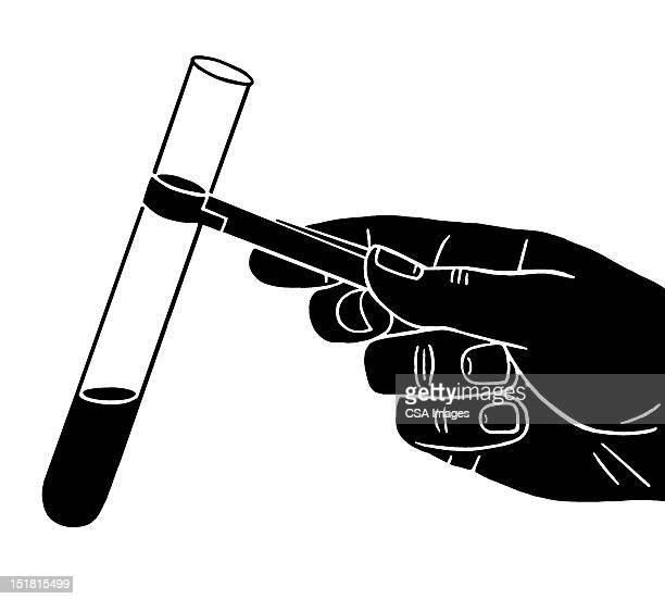 holding test tube - chemistry stock illustrations