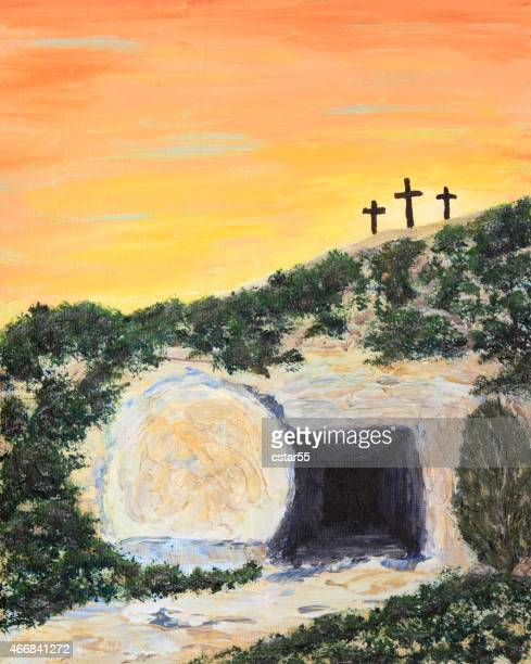 holiday: easter sunrise and empty tomb art painting - easter religious stock illustrations