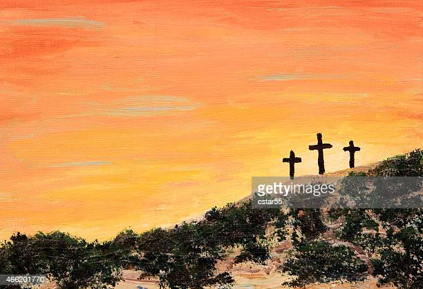 holiday: easter sunrise with three crosses art painting - the crucifixion stock illustrations, clip art, cartoons, & icons