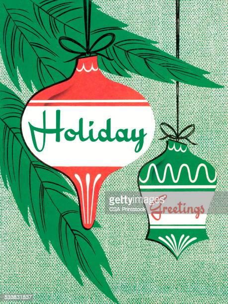 ilustraciones, imágenes clip art, dibujos animados e iconos de stock de holiday bienvenida con ornamentos - decorar
