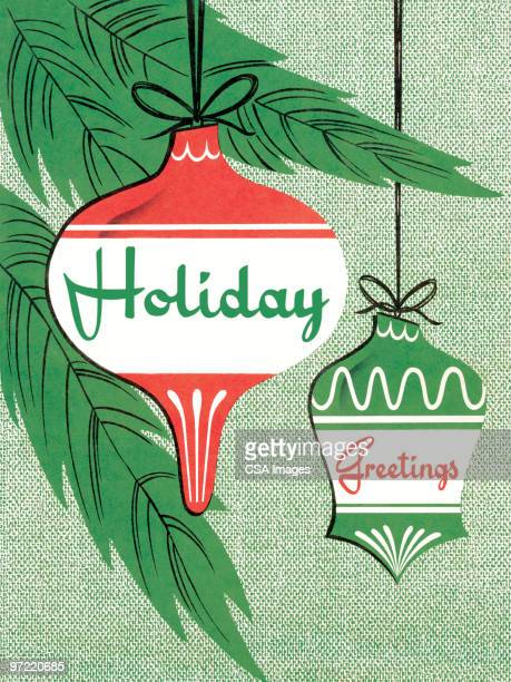 holiday greetings with ornaments - old fashioned stock illustrations