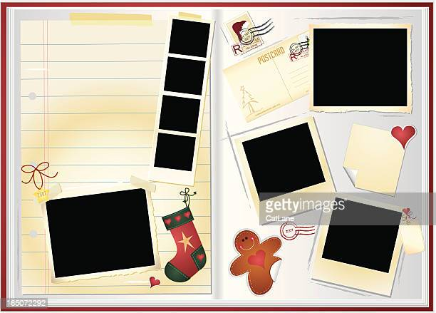 holiday memory book - gift tag note stock illustrations