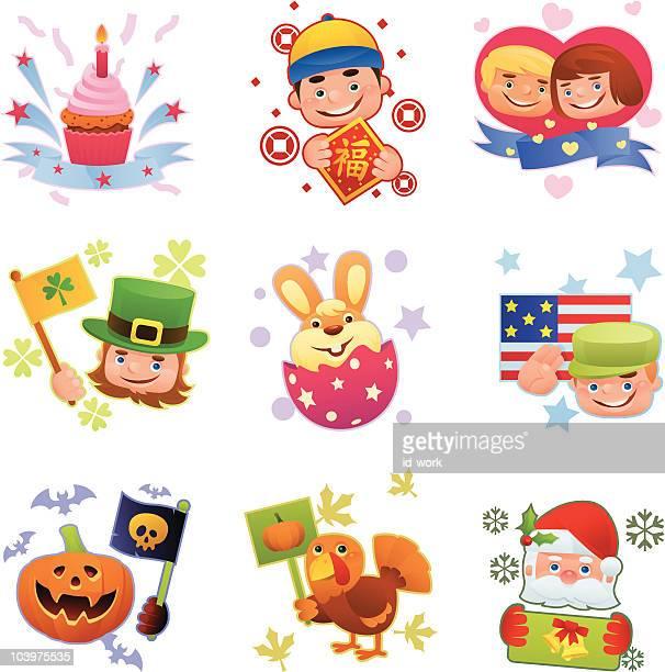 ilustraciones, imágenes clip art, dibujos animados e iconos de stock de iconos de vacaciones - roscadepascua