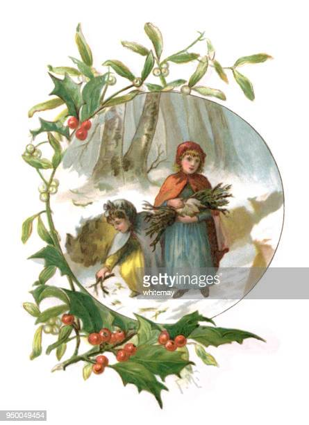 Holly and mistletoe frame with two Victorian girls collecting firewood