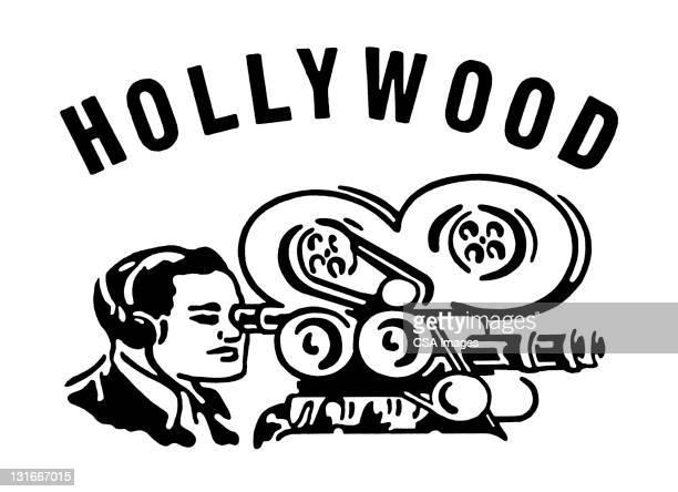 hollywood movie camera - hollywood california stock illustrations