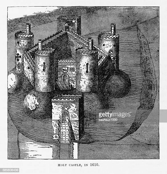 Holt Castle in 1610, Holt, Wales Victorian Engraving, Circa 1840