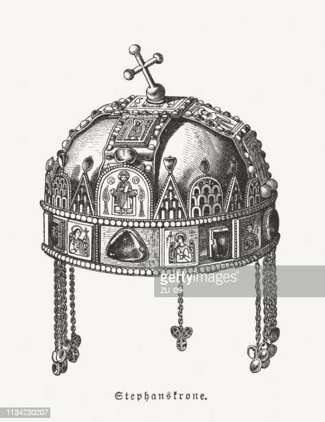stockillustraties, clipart, cartoons en iconen met heilige kroon van hongarije, houtgravure, gepubliceerd in 1897 - traditionally hungarian
