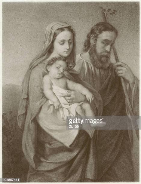 illustrazioni stock, clip art, cartoni animati e icone di tendenza di la holy family – da karl hemerlein (1807-1884 - san giuseppe