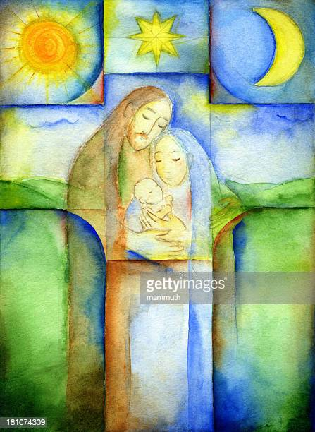 illustrazioni stock, clip art, cartoni animati e icone di tendenza di holy famiglia - san giuseppe