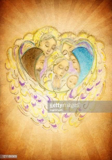 holy family with angels - st. joseph missouri stock illustrations