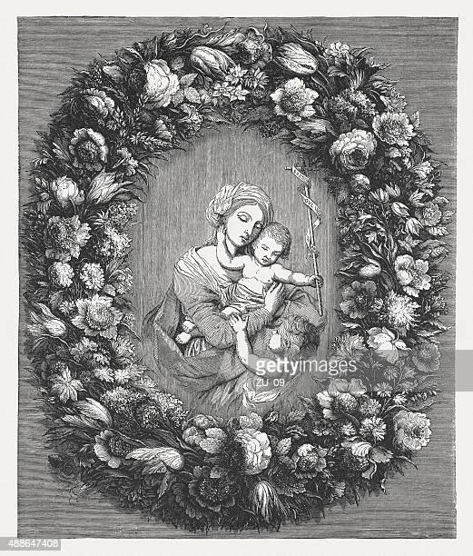 ilustraciones, imágenes clip art, dibujos animados e iconos de stock de sagrada familia con st. john, publicado en 1878 - san juan bautista