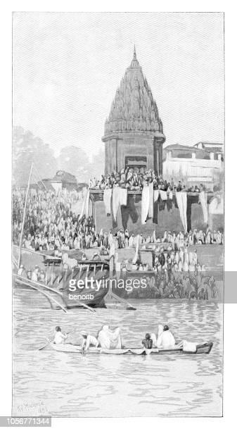 holy ganges river in india - river ganges stock illustrations