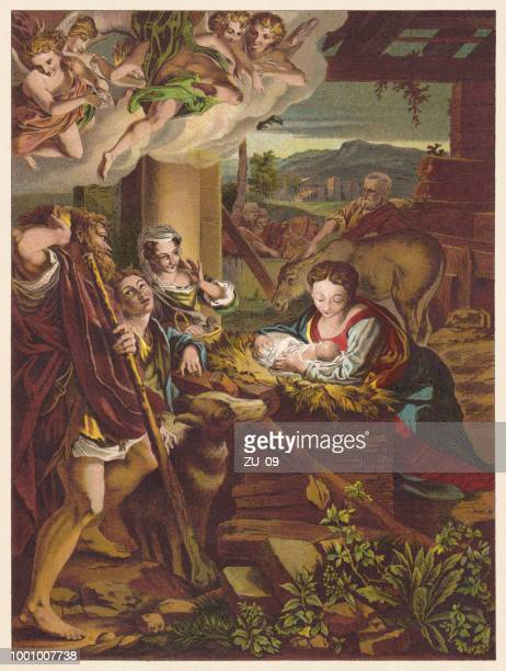 holy night, painted (1522/30) by correggio (1489-1535), chromolithograph, published 1890 - classical stock illustrations