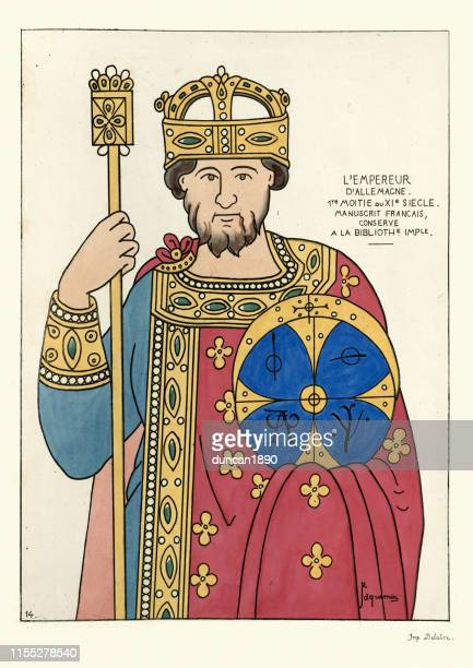 holy roman emperor of the 9th century - holy roman emperor stock illustrations