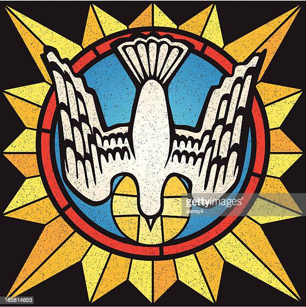 stockillustraties, clipart, cartoons en iconen met holy spirit stained glass - christendom