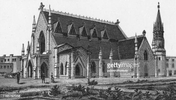 holy trinity anglican church in winnipeg, manitoba, canada - 19th century - anglican stock illustrations