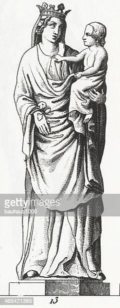 illustrations, cliparts, dessins animés et icônes de gravure de la sainte vierge statue - la vierge marie