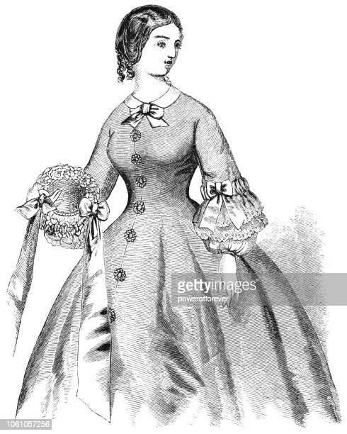 home dress - victorian style fashion (1859) - en búsqueda stock illustrations
