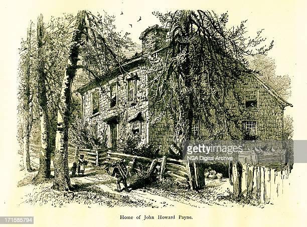 home of john howard payne, east hampton, new york - village stock illustrations