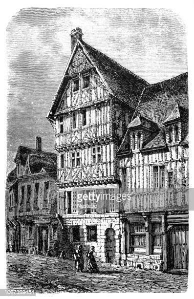 home of the corneille family in rouen, where pierre corneille was born. it was turned into a museum dedicated to his work in 1920 - normandy stock illustrations, clip art, cartoons, & icons