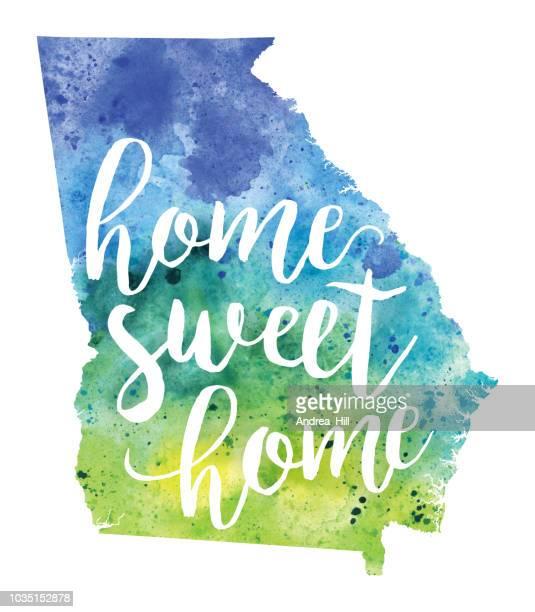 ilustraciones, imágenes clip art, dibujos animados e iconos de stock de home sweet home mapa raster acuarela ilustración de georgia - georgia estado de eeuu
