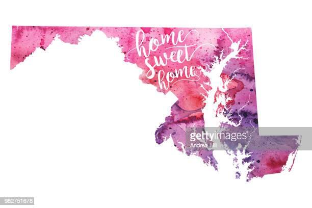 ilustraciones, imágenes clip art, dibujos animados e iconos de stock de home sweet home mapa raster acuarela ilustración de maryland - maryland us state