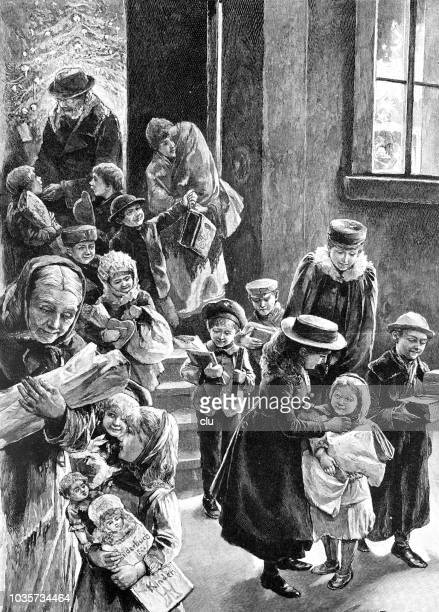 homecoming of the poor from the christmas charity presentation - christmas past and christmas present stock illustrations