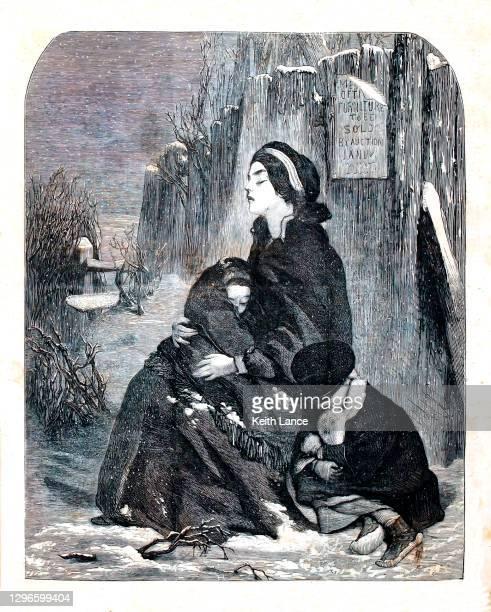 冬のホームレスファミリー - 1800~1809年点のイラスト素材/クリップアート素材/マンガ素材/アイコン素材