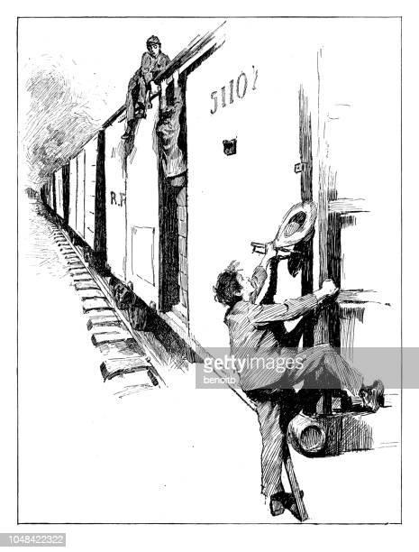 illustrations, cliparts, dessins animés et icônes de sdf, attacher un petit tour sur le train de marchandises - vagabond
