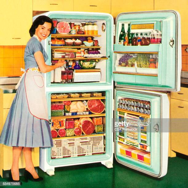 homemaker showing a full refrigerator - stay at home mother stock illustrations, clip art, cartoons, & icons