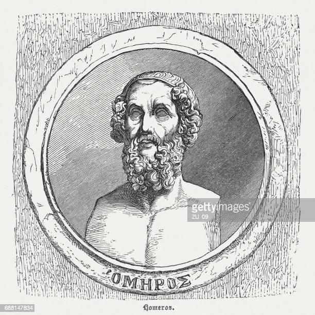 homer, ancient greek poet, wood engraving, published in 1880 - 8th century bc stock illustrations, clip art, cartoons, & icons