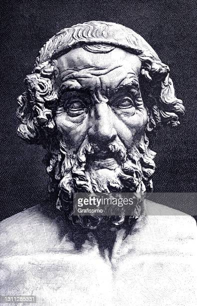 homer author of iliad and odyssey - literature stock illustrations