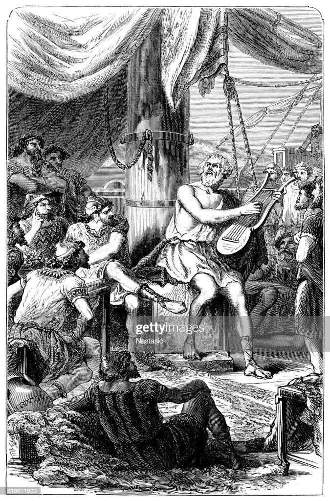 Homer delights the strange fishermen by his singing : stock illustration