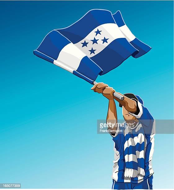 honduras waving flag soccer fan - honduras stock illustrations