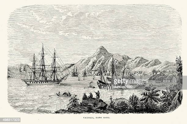 hong kong in the 19th century - 19th century stock illustrations