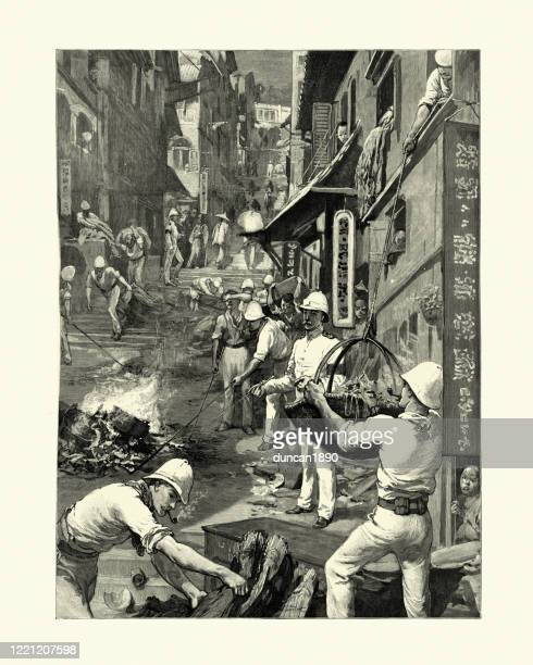 hong kong plague pandemic, british soldiers destroying refuse, infected houses - bubonic plague stock illustrations