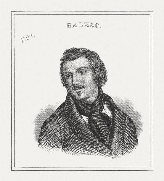 honoré de balzac (1799-1850), steel engraving, published in 1843 - honore de balzac stock illustrations