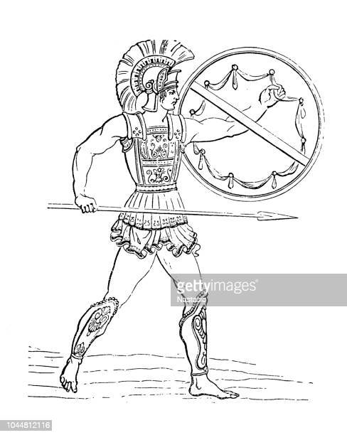 hoplite - ancient greek soldier - classical style stock illustrations, clip art, cartoons, & icons