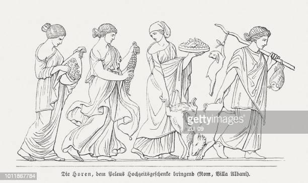 bildbanksillustrationer, clip art samt tecknat material och ikoner med horae, föra bröllopspresenter till peleus (grekisk mytologi), villa albani - grekisk gudinna