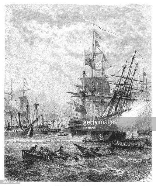 horatio nelson's victory at copenhagen on april 2nd, 1801. - warship stock illustrations