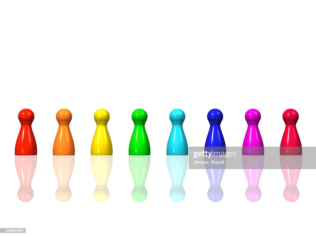 Horizontal like of rainbow-coloured game pieces on a glossy surface, 3-D illustration : Stock Illustration