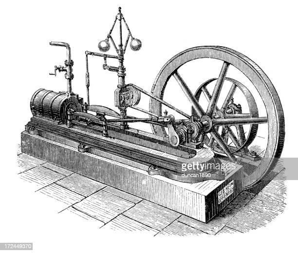 ilustraciones, imágenes clip art, dibujos animados e iconos de stock de horizontal motor de vapor - revolucion industrial