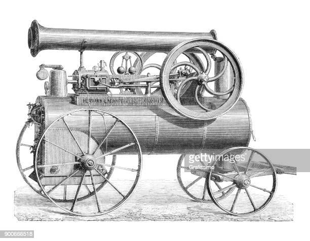 Horizontal steam machine on wheels Paris France 1875