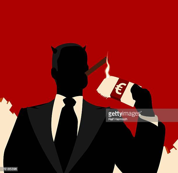 ilustraciones, imágenes clip art, dibujos animados e iconos de stock de a horned businessman igniting a cigar with bank notes - capitalismo