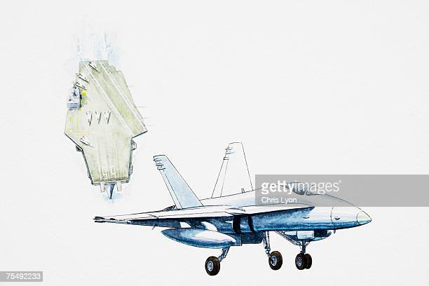 f/a-18 hornet , strike fighter jet - fa 18 hornet stock illustrations