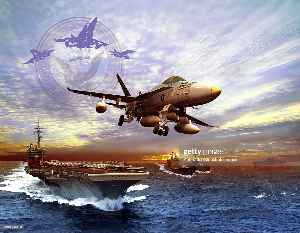 F/A-18 Hornet taking off of a U.S. Navy aircraft carrier. : stock illustration